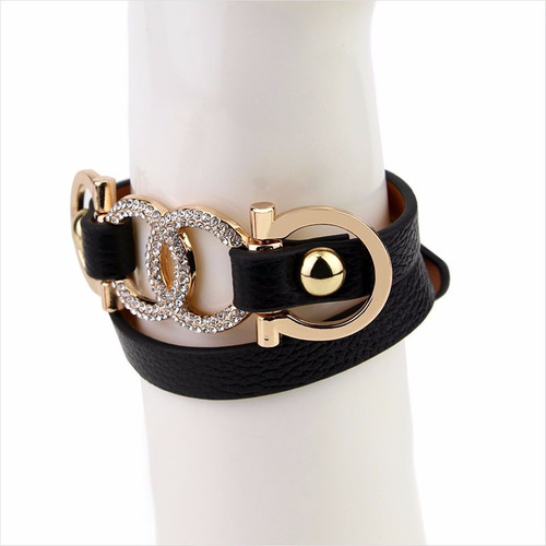 pulseira feminina luxo marca dourado/preta bd1262