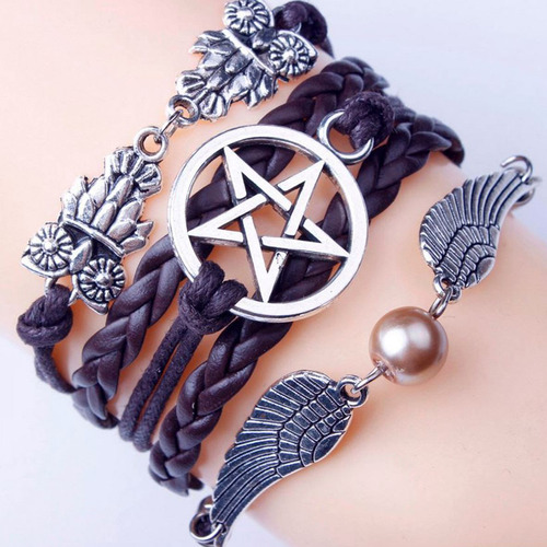 pulseira feminina masculina pentagrama sobrenatural hunter