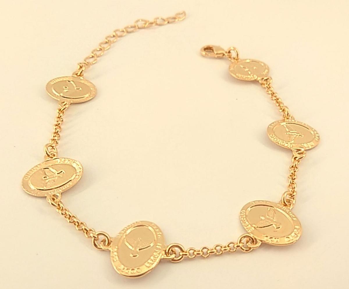 pulseira feminina medalha pomba espirito santo folheada ouro. Carregando  zoom. 4ef36b5d2a