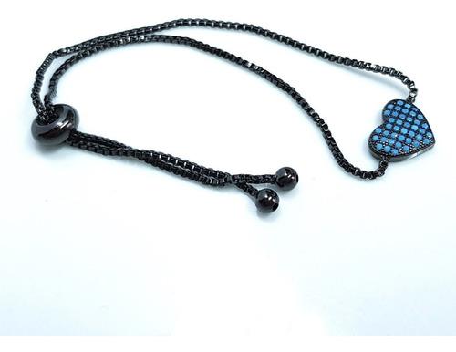 pulseira feminina nano turquesa banhada ouro negro