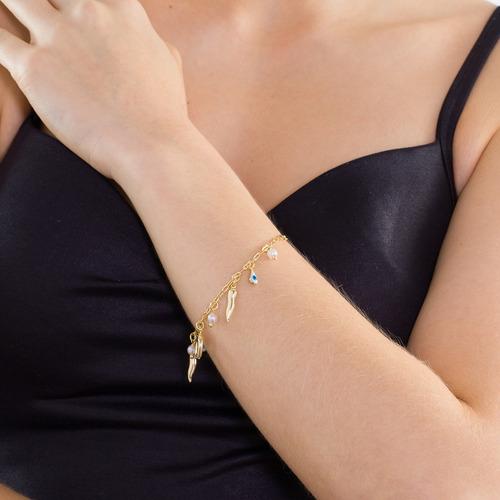pulseira feminina ogrife j-803 banhado ouro 18k semi jóia