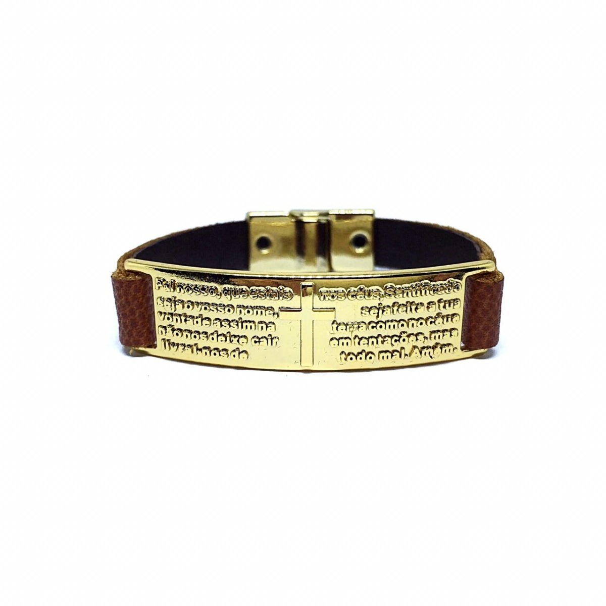 ac6dd7b2a pulseira feminina oração pai nosso dourado couro legítimo. Carregando zoom.