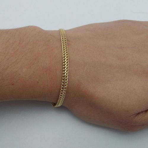 pulseira feminina ouro 18k liga 750 elo lacraia frete gratis