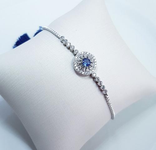 pulseira feminina pedra zirconia azul  semi jóia ajustável