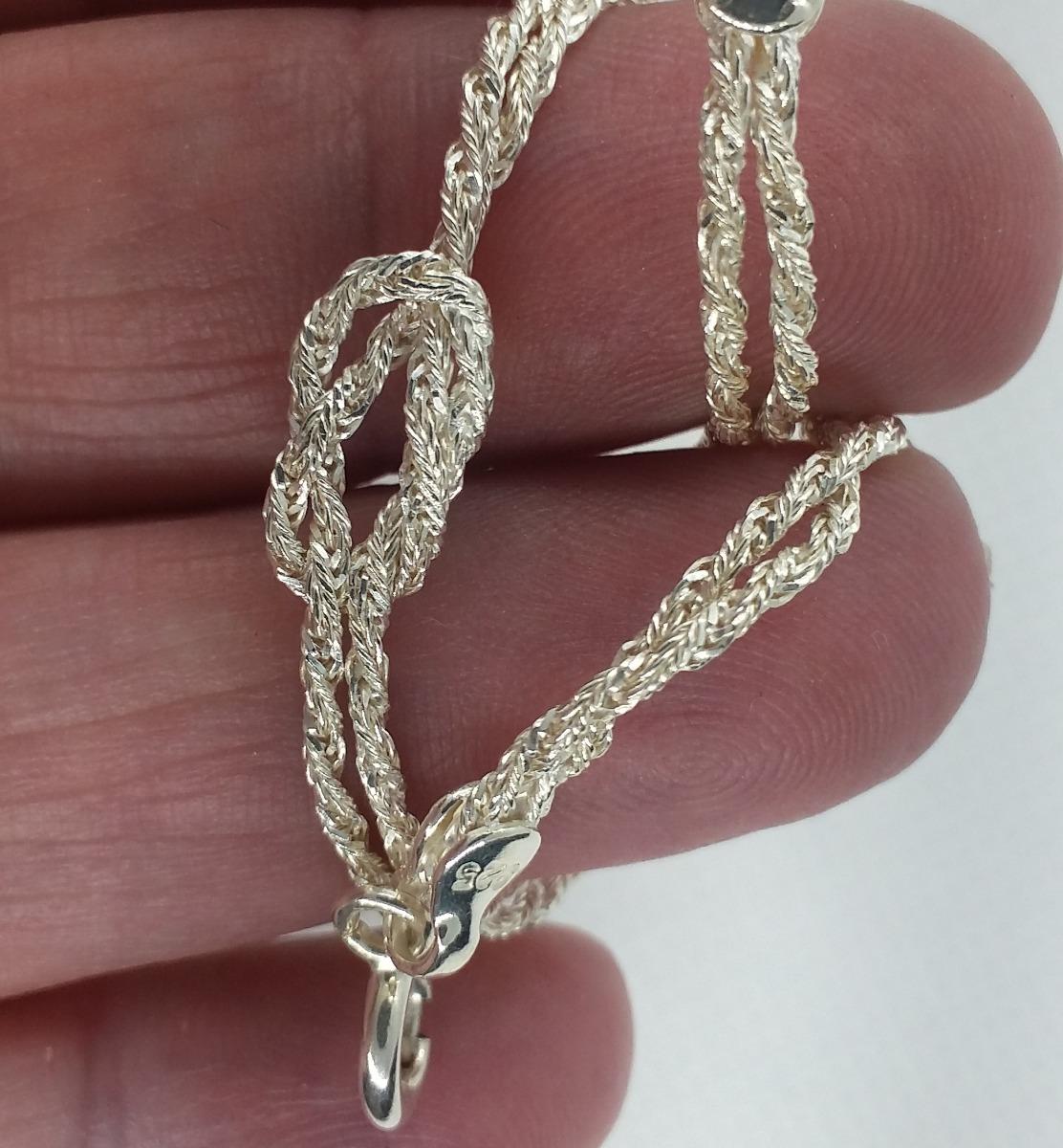 d6d94c5ce3d pulseira feminina prata 925 2 fios com nó promoção. Carregando zoom.