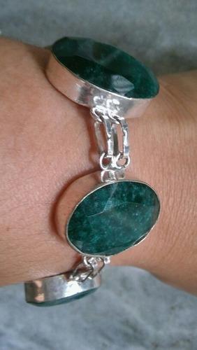 pulseira feminina prata 925 pedra rubi ou esmeralda natural