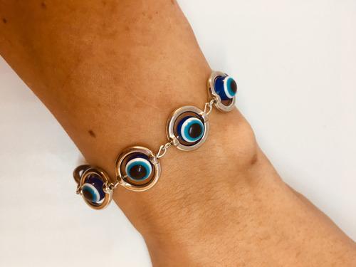 pulseira feminina prata bolinhas olho grego + brinde