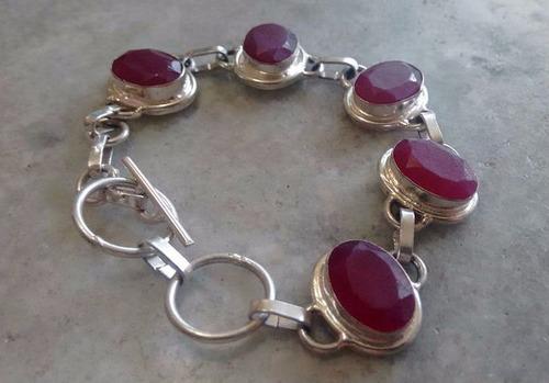 pulseira feminina prata bracelete rubi pedra natural