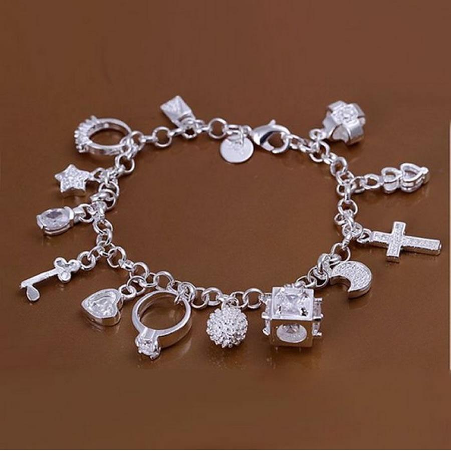 8832c1cb964 pulseira feminina prata de lei coração chave estrela anel. Carregando zoom.