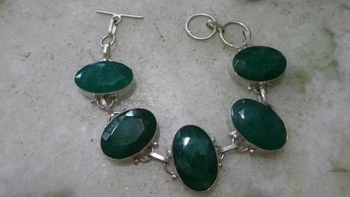 pulseira feminina prata indiana pedra esmeralda natural