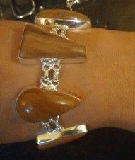 pulseira feminina prata indiana pedras jaspe naturais