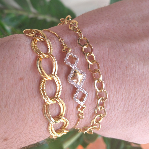 pulseira feminina regulável dourada elos semijoia