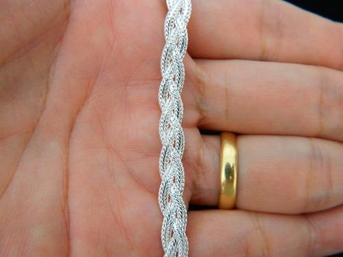 pulseira feminina trançada italiana 3 fios em prata 925 18cm