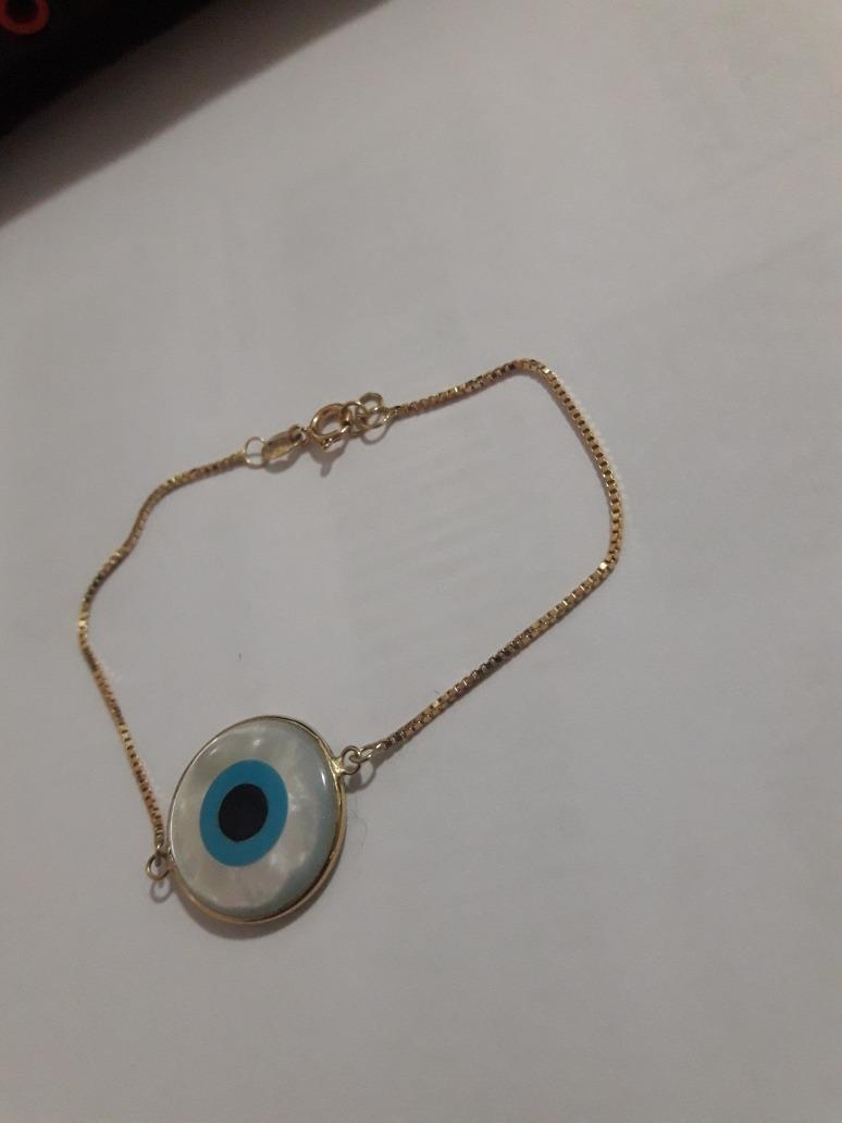 6158fb40da21f pulseira feminina veneziana com olho grego 15mm madreperola. Carregando  zoom.