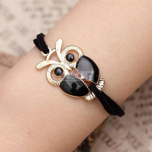 pulseira feminino em couro e metal coruja