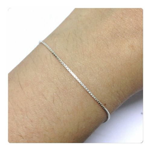 pulseira fina de prata 925 modelo feminino veneziana de 18cm