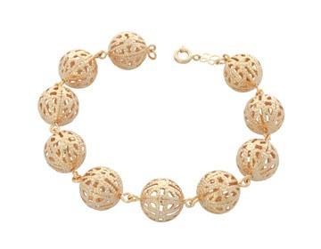 pulseira fio bolas trabalhadas e ouro rommanel