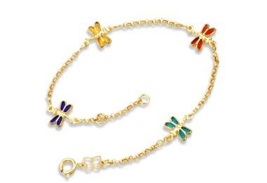 pulseira fio elo português libélulas ouro rommanel 550682