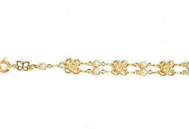 pulseira fio flores e pérolas ouro rommanel 550674