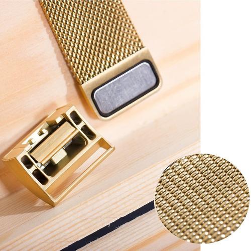 pulseira fitbit charge 2 metal milanese gold p/m ft gratis