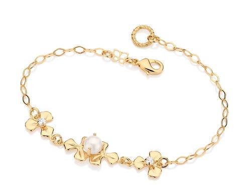 pulseira flores cristais intercaladas flor ouro rommanel
