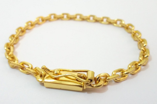 pulseira folheada a ouro 18k com fecho de gaveta 5mm