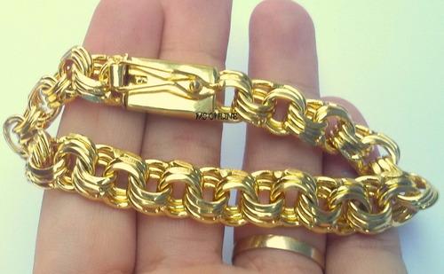 pulseira folheada a ouro 18k elo triplo  masculina