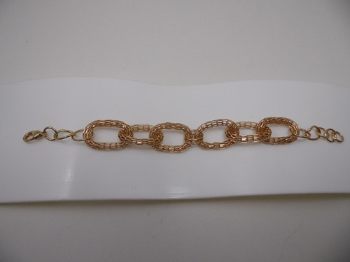 pulseira folheada a ouro - com elos vazados