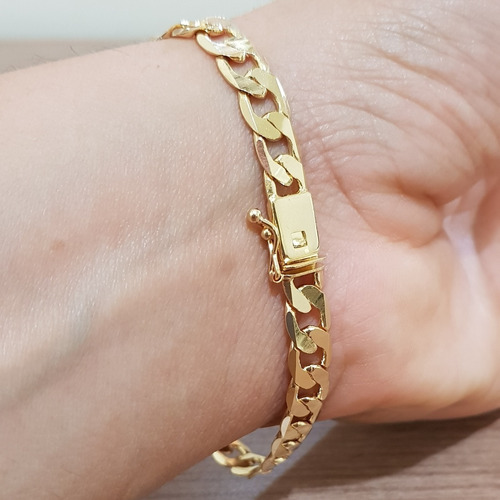 pulseira folheada ouro 18k 7mm 1 ano de garantia masculina