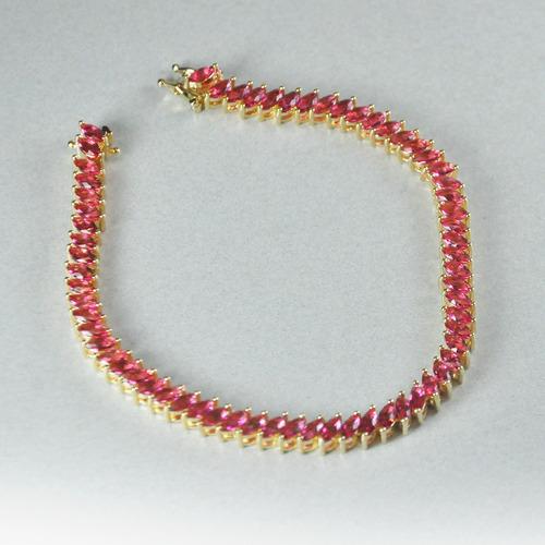 pulseira folheada ouro 18k navete rosa