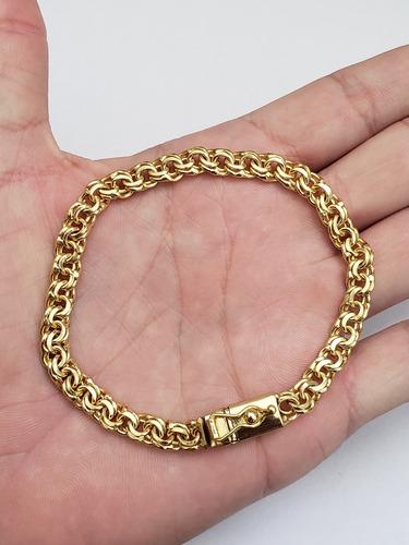 pulseira friso 6mm masculino luxo banhado a ouro 18k