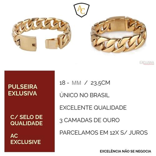 pulseira grossa fecho gaveta folheado ouro 18k grumet 18mm