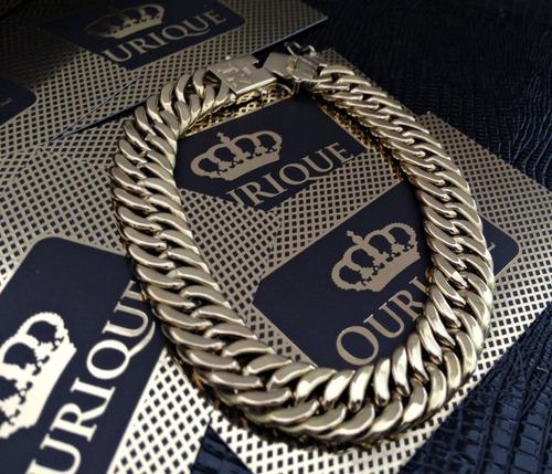 pulseira grossa grumet duplo em ouro 18k 750 promoção 40g