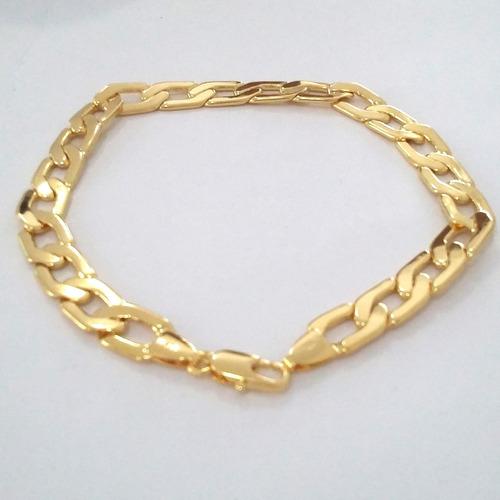 pulseira grossa masculina 20cm e 22cm banhada ouro 18k 7mm