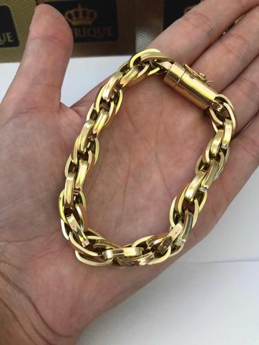 pulseira grossa masculina ouro 18k trançada sob encomenda