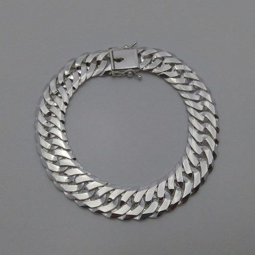 pulseira groumet elo duplo prata maciça 13mm 38g  f/ gaveta