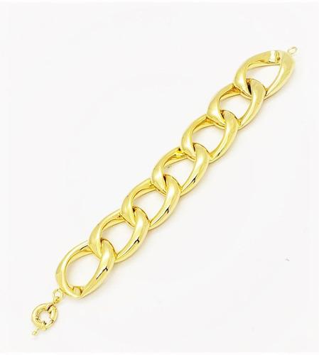 pulseira grumet 7 elos grandes coração banho ouro 4621a 3009