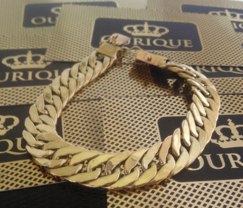 pulseira grumet duplo elos slim de ouro 18k 750 15 gramas