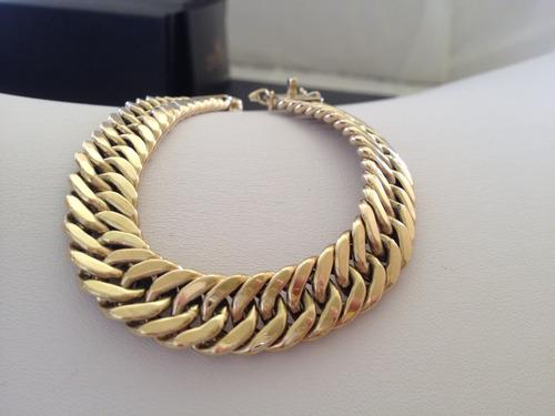 pulseira grumet duplo grossa 60 gramas em ouro 18k sem juros