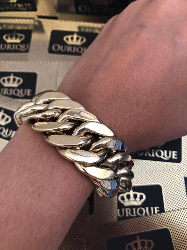 pulseira grumet duplo grossa corrente de pulso ouro 18k 750