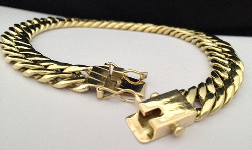 pulseira grumet duplo italiana em ouro 18k 750 promoção