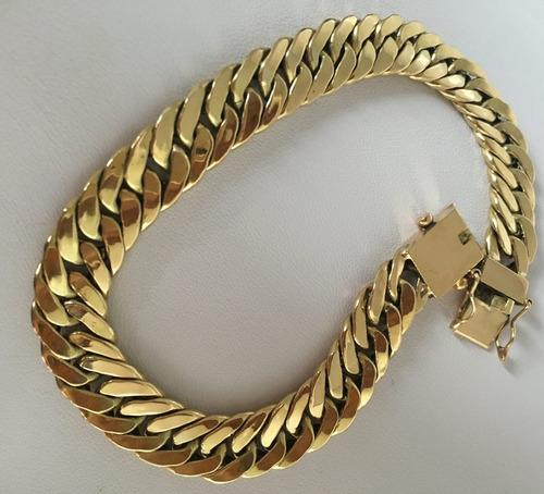 pulseira grumet duplo italy em ouro 18k 10 gramas promoção