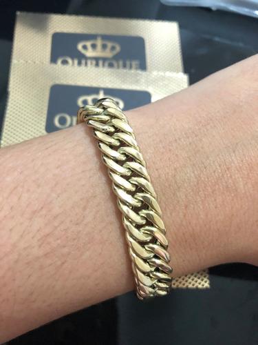 pulseira grumet duplo italy em ouro 18k 20 gramas promoção