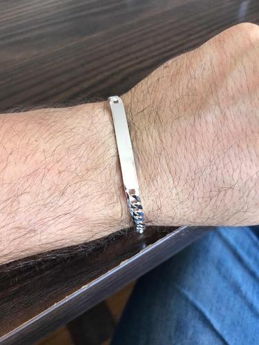 pulseira grumet escama de peixe de placa 925 prata