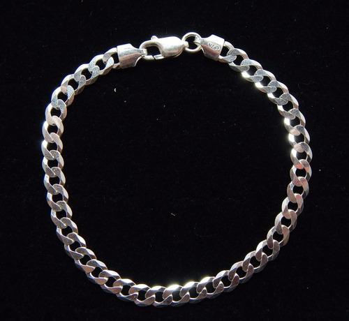 pulseira grumet flat 1x1 l0,6cm prata de lei 925 - di grande