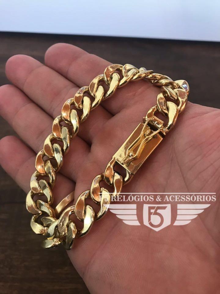 954484c2740 pulseira grumet pitbull banhada ouro 18k masculina f. gaveta. Carregando  zoom.