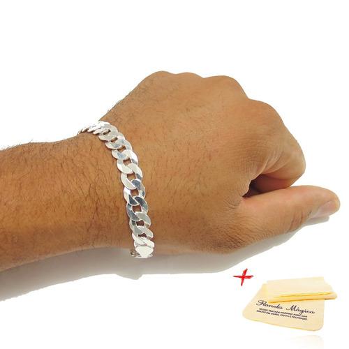 pulseira grumet prata 925 masculina grossa 9mm 925 + brinde