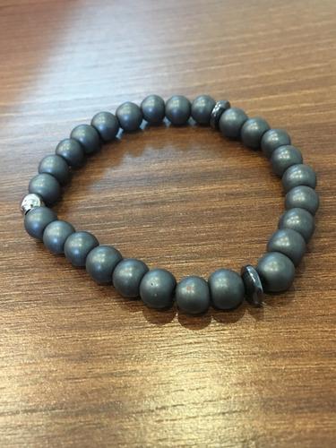pulseira hematita fosca pedras naturais