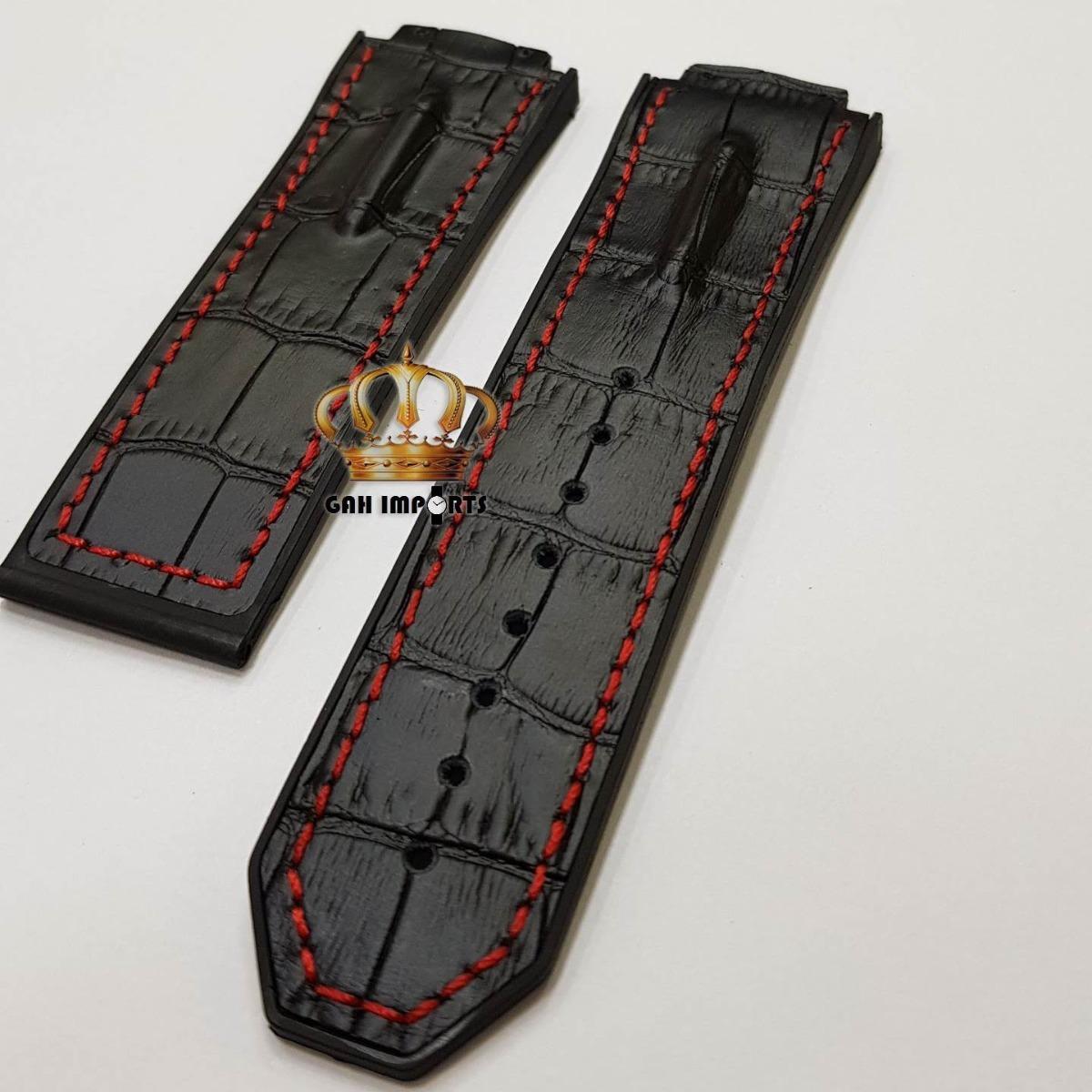 0840553fd63 Pulseira Hublot King Power Preto Couro Costura Vermelha - R  89