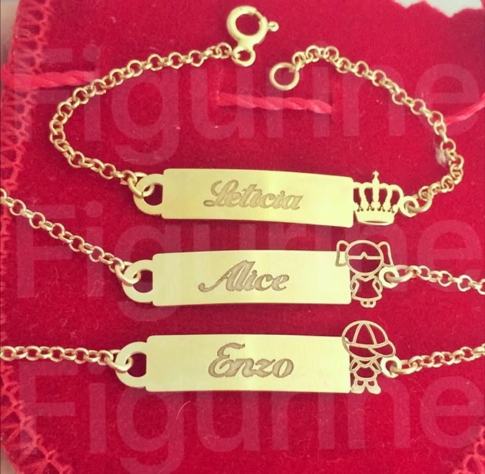 e20bb64d58 pulseira infantil com nome gravado - prata banhado a ouro! Carregando zoom.